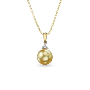 PEARL AND DIAMOND NECKLACE IN 14KT GOLD - SOUTH PACIFIC PEARLS JEWELLERY - PEARL JEWELLERY