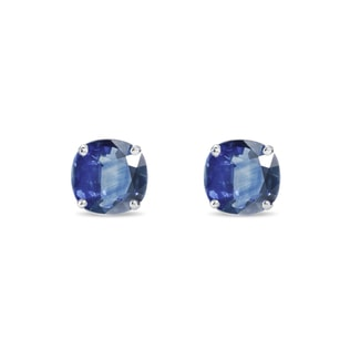SAPPHIRE STUD EARRINGS IN SILVER - SAPPHIRE EARRINGS - EARRINGS