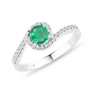 GOLDEN RING WITH EMERALD AND DIAMONDS - ENGAGEMENT GEMSTONE RINGS - ENGAGEMENT RINGS