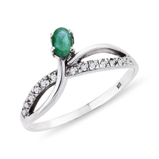 EMERALD AND DIAMOND RING IN STERLING SILVER - STERLING SILVER RINGS - RINGS