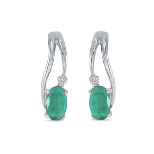 Emerald earrings in 14kt white gold