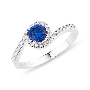 SAPPHIRE RING WITH DIAMONDS IN WHITE GOLD - WHITE GOLD RINGS - RINGS