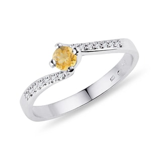 GOLD DIAMOND RING WITH CITRINE - CITRINE RINGS - RINGS