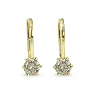 CHAMPAGNE DIAMOND EARRINGS IN 14KT GOLD - DIAMOND EARRINGS - EARRINGS