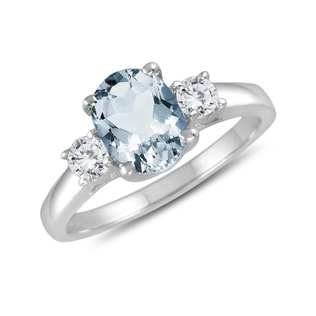 RING OF WHITE GOLD WITH AQUAMARINE AND DIAMONDS - ENGAGEMENT GEMSTONE RINGS - ENGAGEMENT RINGS