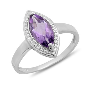 AMETHYST AND DIAMOND RING - STERLING SILVER RINGS - RINGS