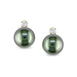 TAHITIAN PEARL AND DIAMOND EARRINGS IN 14KT GOLD - TAHITIAN PEARLS JEWELLERY - PEARL JEWELLERY