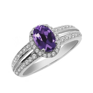ENGAGEMENT SILVER RING WITH AMETHYST - STERLING SILVER RINGS - RINGS