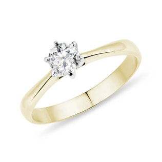 ENGAGEMENT RING IN YELLOW AND WHITE GOLD - SOLITAIRE ENGAGEMENT RINGS - ENGAGEMENT RINGS