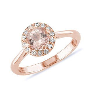 MORGANITE AND DIAMOND RING IN ROSE GOLD - FINE JEWELLERY