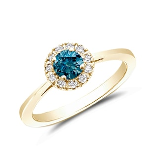 BLUE AND WHITE DIAMOND RING IN 14KT GOLD - FANCY DIAMOND ENGAGEMENT RINGS - ENGAGEMENT RINGS