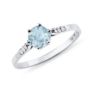 SILVER RING WITH AQUAMARINE AND CZ - ENGAGEMENT GEMSTONE RINGS - ENGAGEMENT RINGS