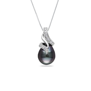 SILVER PENDANT WITH TAHITIAN PEARLS AND DIAMONDS - PEARL PENDANTS - PEARL JEWELLERY