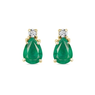 GOLD EARRINGS WITH EMERALDS AND DIAMONDS - EMERALD EARRINGS - EARRINGS
