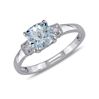 AQUAMARINE AND DIAMOND RING IN STERLING SILVER - AQUAMARINE RINGS - RINGS