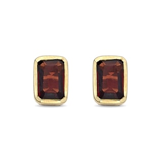 GARNET 14KT GOLD EARRINGS - YELLOW GOLD EARRINGS - EARRINGS
