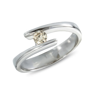 CHAMPAGNE DIAMOND ENGAGEMENT RING IN 14KT GOLD - WHITE GOLD RINGS - RINGS