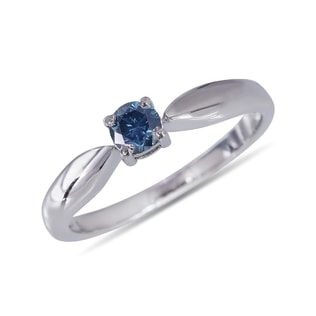 BLUE DIAMOND SILVER RING - FANCY DIAMOND ENGAGEMENT RINGS - ENGAGEMENT RINGS