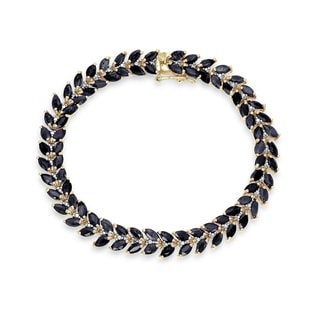 GOLD-PLATED BRACELET WITH SAPPHIRE AND DIAMONDS - WOMEN'S BRACELETS - FINE JEWELLERY