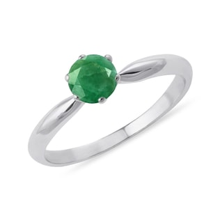 GOLDEN RING WITH EMERALD - ENGAGEMENT GEMSTONE RINGS - ENGAGEMENT RINGS