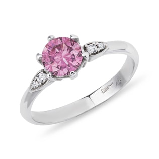 Pink sapphire ring with diamonds