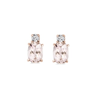 EARRINGS MADE OF ROSE GOLD WITH DIAMONDS AND MORGANITE - GEMSTONES EARRINGS - EARRINGS