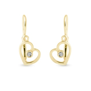 BABY HEART EARRINGS IN 14KT YELLOW GOLD - YELLOW GOLD EARRINGS - EARRINGS