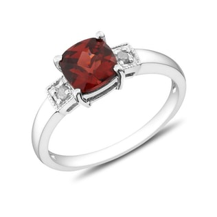 DIAMOND AND GARNET RING IN SILVER - GARNET RINGS - RINGS