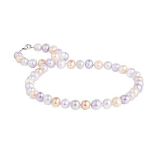 Multi-coloured pearl necklace with a silver clasp
