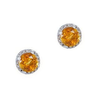 CITRINE AND DIAMOND EARRINGS IN STERLING SILVER - CITRINE QUARTZ EARRINGS - EARRINGS