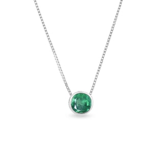 GOLD NECKLACE WITH EMERALD - EMERALD PENDANTS - PENDANTS