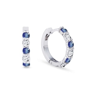 EARRINGS WITH DIAMONDS AND SAPPHIRES IN WHITE GOLD - SAPPHIRE EARRINGS - EARRINGS