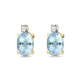 AQUAMARINE AND DIAMOND EARRINGS IN 14KT SOLID GOLD - AQUAMARINE EARRINGS - EARRINGS