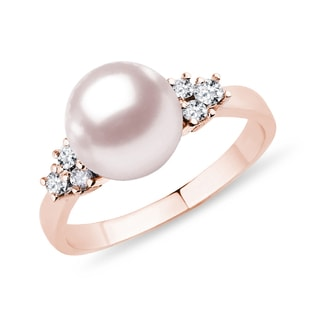 GOLD RING WITH A PEARL AND DIAMONDS - PEARL RINGS - PEARL JEWELRY