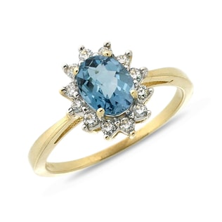 LONDON TOPAZ AND DIAMOND RING IN 14KT GOLD - ENGAGEMENT HALO RINGS - ENGAGEMENT RINGS