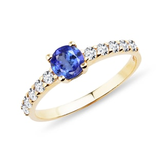 GOLD RING WITH TANZANITE AND CZ STONES - TANZANITE RINGS - RINGS