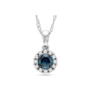 BLUE AND WHITE DIAMOND PENDANT IN 14KT GOLD - DIAMOND PENDANTS - PENDANTS