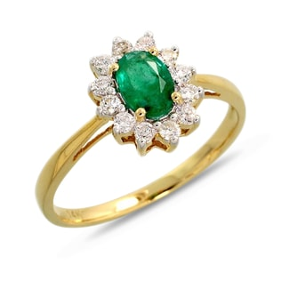 EMERALD AND BRILLIANT RING IN 14KT YELLOW GOLD - ENGAGEMENT HALO RINGS - ENGAGEMENT RINGS