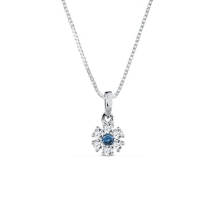Pendant with blue and white diamonds