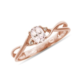 MORGANITE AND DIAMOND RING IN 14KT ROSE GOLD - ENGAGEMENT GEMSTONE RINGS - ENGAGEMENT RINGS