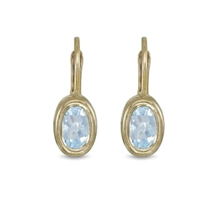 AQUAMARINE EARRINGS IN 14KT YELLOW GOLD - AQUAMARINE EARRINGS - EARRINGS