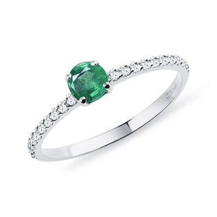 GOLD RING WITH DIAMONDS AND AN EMERALD - EMERALD RINGS - RINGS