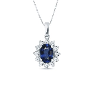 Sapphire and diamond pendant in 18kt gold