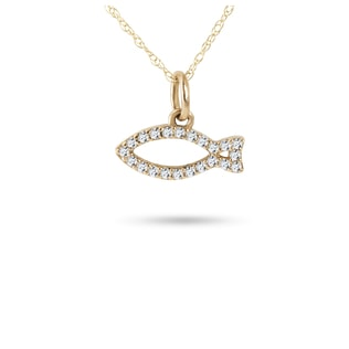 DIAMOND FISH PENDANT IN 14KT YELLOW GOLD - DIAMOND PENDANTS - PENDANTS