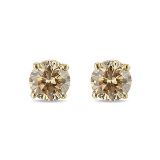 CHAMPAGNE DIAMOND STUD EARRINGS - STUD EARRINGS - EARRINGS