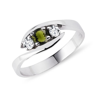 Silver ring with moldavite and diamonds