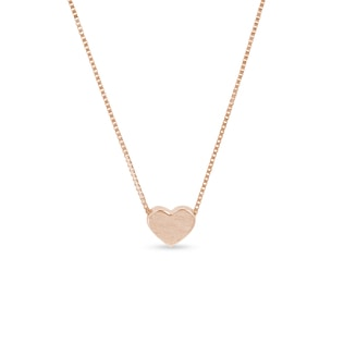 Matte heart necklace in rose gold