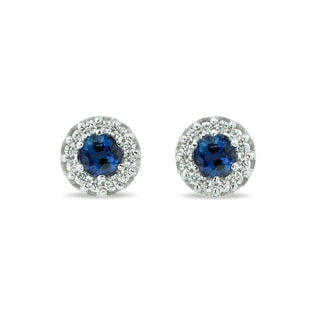 GOLD EARRINGS WITH SAPPHIRE STONES AND DIAMONDS - WHITE GOLD EARRINGS - EARRINGS