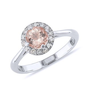 MORGANITE AND DIAMOND RING IN 14KT WHITE GOLD - ENGAGEMENT GEMSTONE RINGS - ENGAGEMENT RINGS