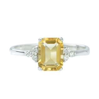 CITRINE AND DIAMOND RING IN 14KT GOLD - CITRINE RINGS - RINGS